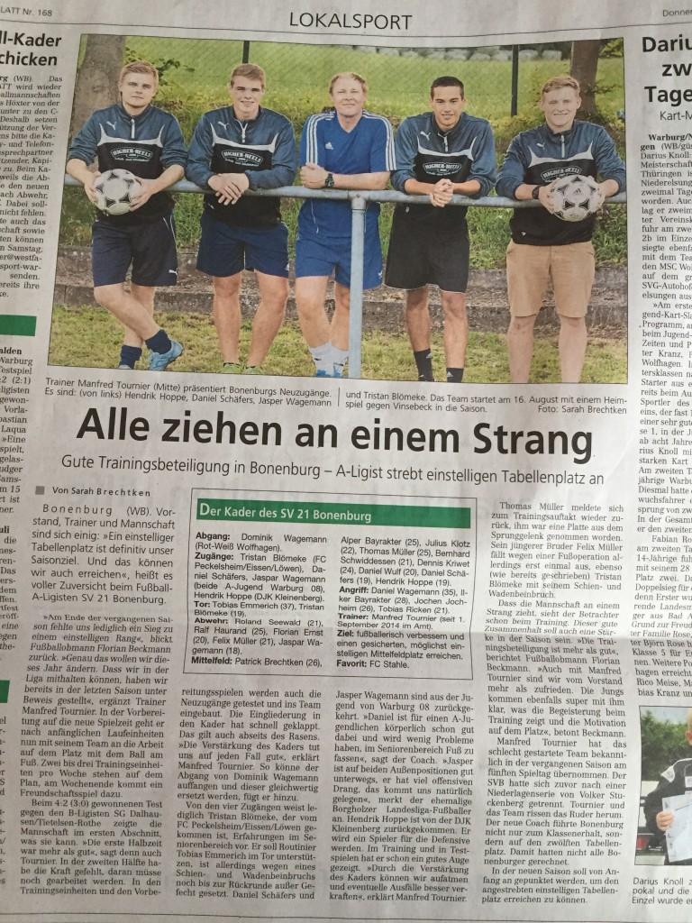 """Foto 23.07.15 Westfalen-Blatt """"Alle ziehen an einem Strang"""""""