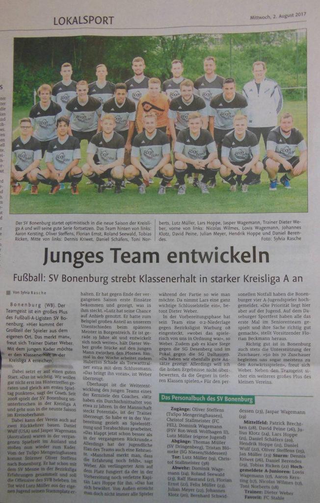 Die erste Fußball-Mannschaft des Sv '21 Bonenburg in der Saisonvorschau des Westfalen-Blattes