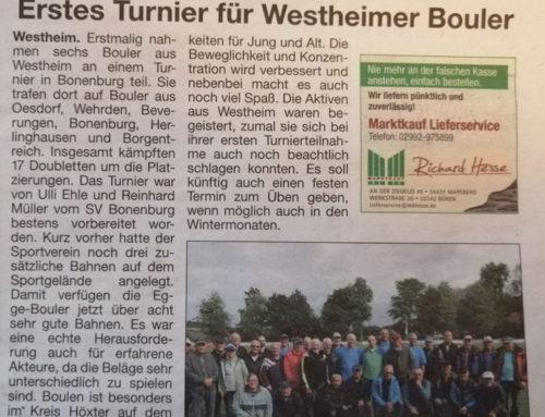 Westheim berichtet über unser Boule-Turnier