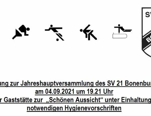 Einladung zur Jahreshauptversammlung des SV 21 Bonenburg e.V.